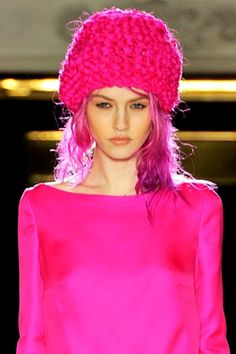 """CHARLES WORTHINGTON believes that the hype surrounding Charlotte Free is well-deserved, after working with the neon-haired model at the spring/summer 2012 Roksanda Ilincic show. """"I think she's amazing, she has such a brave, unique look,"""" Worthington t Pastel Pink, Bright Pink, Rosa Hut, Charlotte Free, Magenta, I Believe In Pink, Pink Panthers, Creative Colour, Pink Hat"""
