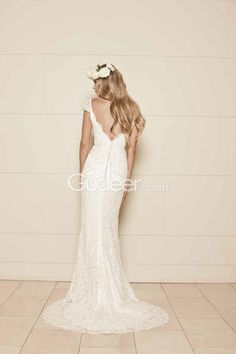 Simple Sheath Cap Sleeves V Neck Backless Floor Length Lace Wedding Dress