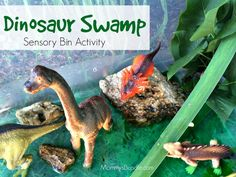 A fun and easy dinosaur swamp sensory activity for toddlers!
