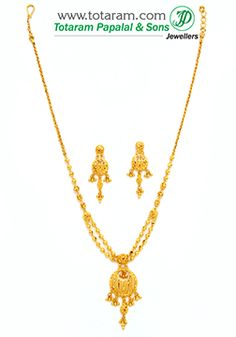 22K Gold Necklace & Earrings Set - GS2657 - Indian Jewelry from Totaram Jewelers