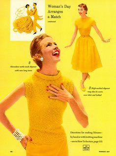 Splendidly sunny yellow spring/summer fashions (1955). #vintage #1950s #monochromatic #fashion