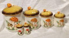 Sears Merry Mushroom Canister Set Salt/Pepper Retro Vintage Pottery 1970's