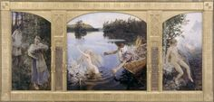 Akseli Gallen-Kallela The Legend of Aino, 1891 Oil on Canvas - Central Panel, 154 x 154 cm Helsinki, Ateneum Art Museum, Finnish National Gallery National Gallery, Story Arc, Scandinavian Art, Art Database, Art Moderne, Figure Drawing, Art History, Art Museum, Fairytail
