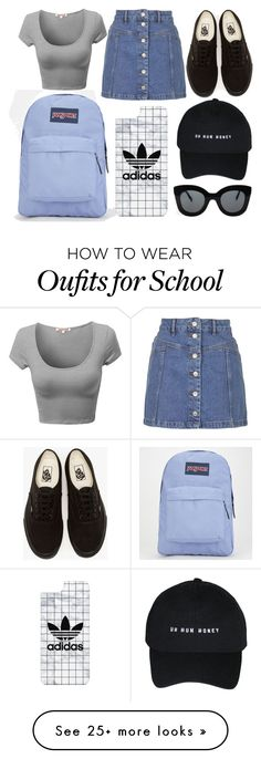 """""""School Day"""" by susanna-trad on Polyvore featuring JanSport, Topshop, Vans, CÉLINE and Casetify"""