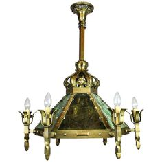 Mission Arts & Crafts Lantern Chandelier | From a unique collection of antique and modern chandeliers and pendants  at http://www.1stdibs.com/furniture/lighting/chandeliers-pendant-lights/