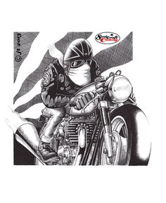 Another one of the cafe racer biro drawings. Speed Demon, biro on Bristol Board ©JonTremlett for soulcraftcandy.