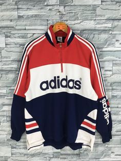ADIDAS Multicolor Track Top Jacket Large Vintage Adidas Trefoil Half Zipper Adidas Three Stripes Sportswear Training Sweater Size L - Products - Jackets Sweatpants Outfit, Adidas Outfit, Swag Outfits, Trendy Outfits, Sporty Outfits, Adidas Retro, Adidas Three Stripes, Mode Vintage, Mens Sweatshirts