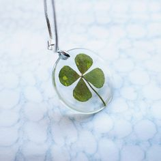 Four Leaf Clover Necklace Lucky Charm St. Patrick Resin Jewelry Irish Eco Pendant 925 Silver Plated
