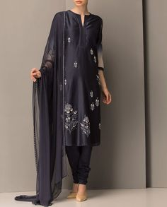 Blue Kurta Set with Floral Embroidered Motifs - End of season sale - Sale
