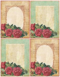 Those Old-fashioned Roses ~ free printable notecards