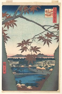 ca. 1857 - Hiroshige, Utagawa -Maples at Mama - from the series One Hundred Famous Views of Edo) - The Metropolitan Museum of Art, New York.