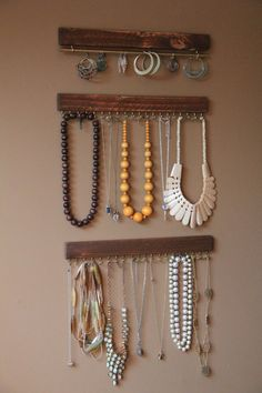 Jewelry Display - Hanging Jewelry Organizer - Rustic Jewelery Organizer - Jewelry Organization - Jewelry Holder - Rustic Home Decor - Rustic Hanging Jewelry Organizer, Jewelry Holder, Jewelry Organization, Necklace Holder, Diy Organizer, Closet Organization, Clean Gold Jewelry, Rustic Jewelry, Jewellery Storage
