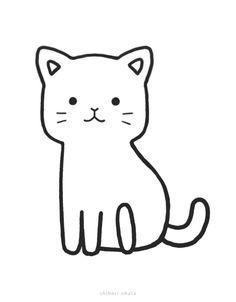 20 Easy Cat Drawing Ideas Mini Drawings, Cute Little Drawings, Love Drawings, Easy Drawings, Animal Drawings, Simple Cat Drawing, Cute Cat Drawing, Basic Drawing, Drawing Ideas