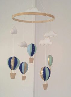 Cute Hot Air Balloon Nursery Mobile Uni Baby