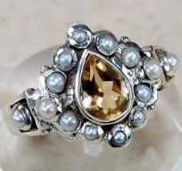 $34.99 & 1 Photon gifted~Genuine Citrine Seed Pearl 925 Sterling Silver Victorian Style Ring Sz 6.5