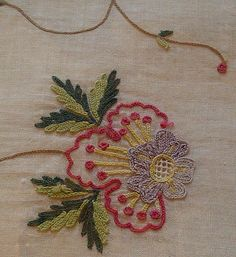 Gawthorpe Textiles Collection : Photo. Detail of 18th C Tambour work.