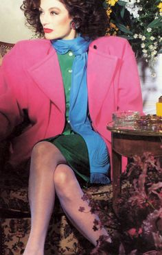 Anouk Aimée in Ungaro _ Photo by Guy Bourdin, Vogue US, March 1986 pink coat broad padded shoulders green dress blue scarf mid iconic vintage fashion style color photo print ad model movie star Seventies Fashion, 60 Fashion, Fashion Shoot, Editorial Fashion, Vintage Fashion, Fashion Looks, Club Fashion, French Fashion, 70s Outfits