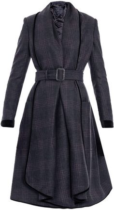 888db2a6f23eb BURBERRY Check Waterfall Coat Grey Trench Coat