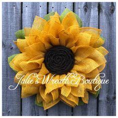 62 Ideas Diy Front Door Decorations Crafts How To Make Sunflower Burlap Wreaths, Sunflower Crafts, Burlap Flowers, Sunflower Door Hanger, Sunflower Decorations, Wreath Crafts, Diy Wreath, Wreath Making, Wreath Burlap