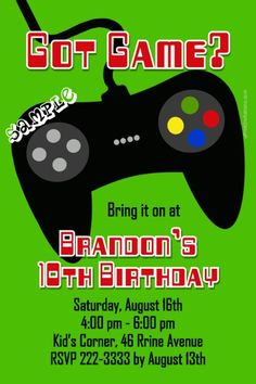 Video game birthday invitation printable party invite tucks similar ideas video game controller birthday invitations stopboris Choice Image