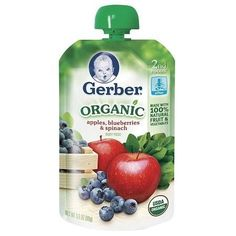 Gerber 2nd Foods Organic Baby Food Pouch Apples Blueberries & Spinach - 3.5 oz.