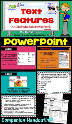 Teaching about Nonfiction Text Features? Check out this 120-slide PowerPoint that includes 23 text features!
