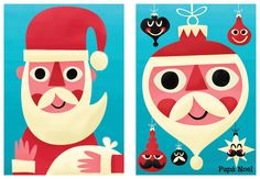 Christmas postcards illustrations