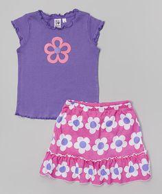 Another great find on #zulily! Purple Cap-Sleeve Tee & Pink Floral Skort - Toddler & Girls #zulilyfinds