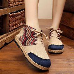 Buy Vintage Embroidery Shoes Thai Boho Cotton linen canvas cloth Single national woven Round Toe flat shoes. Click visit to read descriptions