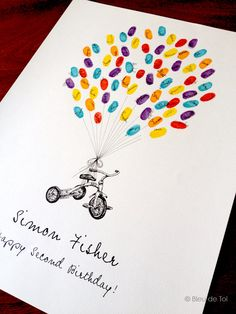 Small tricycle balloon, Original Guest book thumbprint balloon (inks available separately). $55.00, via Etsy.