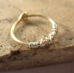 Single Hoop Earring Gold Filled Hoop with Sterling Silver SINGLE Piercing/Lobe/Cartilage/Helix/Tragus/Rook/Daith/Mens