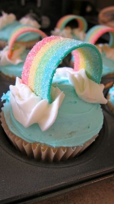 The cutest rainbow birthday cupcakes # . - The cutest rainbow birthday cupcakes … – Bouffe mvi Rainbow Unicorn Party, Unicorn Themed Birthday Party, Birthday Party Themes, Birthday Celebrations, Unicorn Birthday Cakes, Birthday Treats For School, Kids Birthday Cupcakes, Diy Unicorn Party, Birthday Recipes
