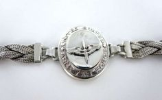 Vintage Antique Wwii United States Army Airforce 925 Sterling Sweetheart Bracelet $450