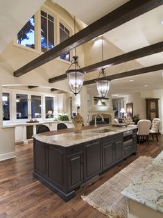 Great kitchen! love the added beams