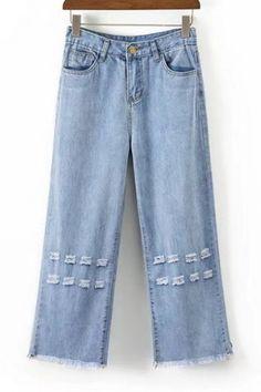 Fashion Ripped Out Fringe Hem Basic Simple Plain Wide Legs Jeans