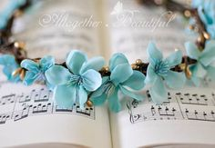 Something Blue Floral Crown Boho Wedding Tiara by Altbeautiful