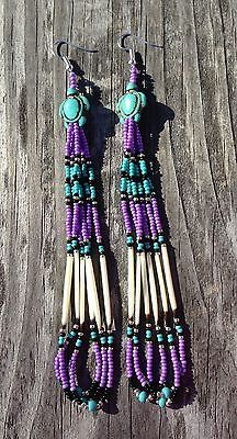 "Native American Style 5.5"" Purple Turquoise Black Silver Beaded Quill Earrings 