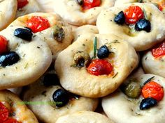 Mini focaccia with olives and tomatoes - great for entertaining