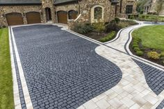 Courtstone Driveway with Umbriano Walkway and accents - Photos Cobblestone Driveway, Driveway Paving, Driveway Design, Driveway Ideas, Wooden Walkways, Concrete Driveways, Concrete Patio, Home Landscaping, Front Yard Landscaping