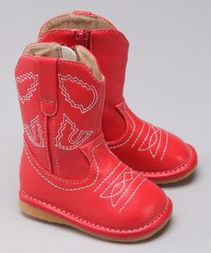 For the cowgirl in your life.  Take a look at this Laniecakes Red Squeaker Cowboy Boot by Laniecakes & Pickle Footwear on #zulily today!