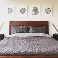 These tree ring prints are perfect for a man's bedroom