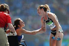 Abbey D'Agostino of Team USA (L) talks with Nikki Hamblin of New Zealand on…