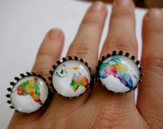 WORLD MAP, pride, Rainbow, Best Friends, Bridesmaid Gift SET of 5 ring,  map city vintage gift for him City Maps, Vintage Gifts, Bridesmaid Gifts, Gifts For Him, Pride, Rainbow, Friends, Jewelry, Bridesmaid Presents