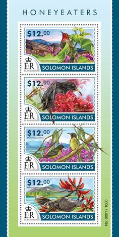 Post stamp Solomon Islands SLM 15309 aHoneyeaters (Myzomela cardinalis, Myzomela tristami, Myzomela eichhorni, Manorina melanocephala)
