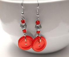 Dangle Button Earrings  Red by DesignShoppe on Etsy, $10.00
