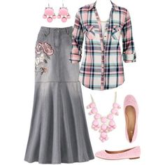 """""""Pink, purple and denim :D"""" by jamie-burditt on Polyvore Add a pink sweatshirt to this"""