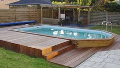 Your pool is all about relaxation. Not every pool must be a masterpiece. Your backyard pool needs to be entertainment central. If you believe an above ground pool is suitable for your wants, add these suggestions to your decor plan… Continue Reading → Small Swimming Pools, Small Pools, Swimming Pools Backyard, Swimming Pool Designs, Above Ground Pool Landscaping, Backyard Pool Landscaping, Backyard Pool Designs, Hot Tub Backyard, Small Backyard Patio