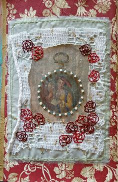 """Antique Watch Imagery Mixed Media Textile Collage """"Age Seduces Beauty"""""""