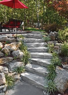 Quarry steps by EP Henry(Concrete Step Stones) Landscape Stairs, House Landscape, Landscape Design, Landscaping A Slope, Landscaping Ideas, Patio Ideas, Patio Grande, Sloped Yard, Outdoor Steps