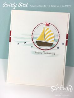 Martha Inchley - Swirly Bird - Stampin' Up! Masculine Birthday Cards, Masculine Cards, Su Swirly Scribbles, Nautical Cards, Bird Cards, Men's Cards, Stamping Up Cards, Homemade Cards, Making Ideas